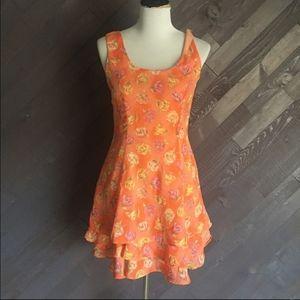 Vintage Orange Floral Dress 🧡💛🧡